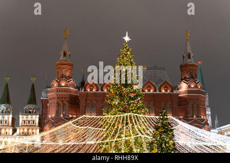 Russian History Museum building near Kremlin in Moscow during 2019 holiday season. - Stock Photo