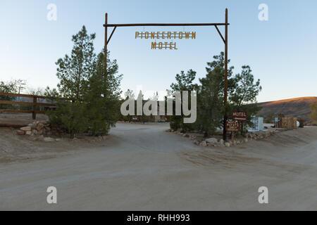 Pioneertown Motel entrance in California, USA - Stock Photo