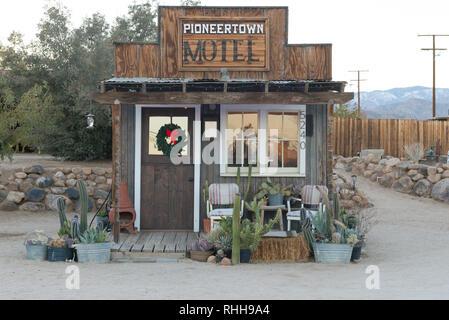 Pioneertown motel reception in California, USA - Stock Photo