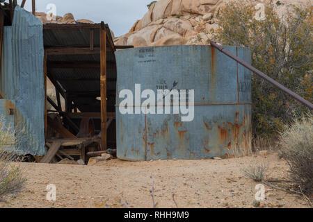 Abandoned mining equipment on the Wall Street Mill trail in Joshua Tree National Park, California, USA - Stock Photo