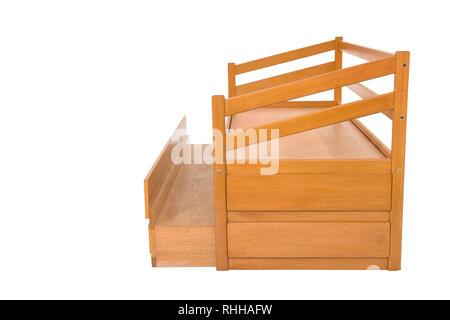 Yellow wood Three seats cozy sofa bed isolated on white background - Stock Photo