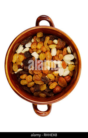mix of raisins and different nuts in a bowl on a white background - Stock Photo