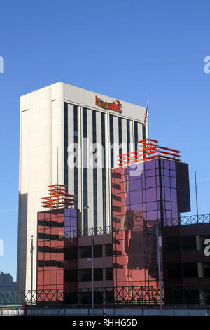 Harrah's Reno Hotel and Casino, Club Cal Neva in foreground, Reno, Nevada, United States - Stock Photo