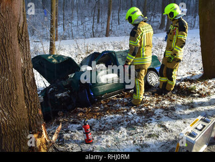 Bad Saarow, Germany. 02nd Feb, 2019. Two firemen stand next to a destroyed car. A car driver and her three children were seriously injured in a traffic accident near Bad Saarow (Oder-Spree district). The 40-year-old's car left the road on Saturday evening for reasons still unknown and crashed into a tree, a police spokesman said. Credit: citynewstv/dpa-Zentralbild/dpa/Alamy Live News - Stock Photo