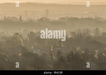 London UK. 3rd February 2019. Wimbledon rooftops bathed in winter sunshine  on a cold and frosty morning  as low freezing  temperatures continue Credit: amer ghazzal/Alamy Live News - Stock Photo