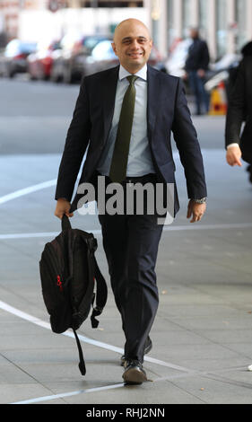 London, UK, February 3rd, 2019. Sajid Javid Home Secretary of the United Kingdom seen at the BBC studios for the Andrew Marr Show in London Credit: WFPA/Alamy Live News - Stock Photo