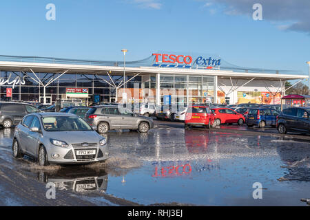 Scotland, UK. 2nd Feb 2019.  This is Tesco Extra in Elgin, Moray, Scotland in which there has been flooding since Friday 1 February 2019. The flooding is freezing. Photographed by JASPERIMAGE ©. Credit: JASPERIMAGE/Alamy Live News - Stock Photo