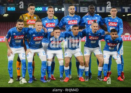 Napolli, Italy. 02nd Feb, 2019. Team during Serie A football match SSC Napoli vs Unione Calcio Sampdoria at San Paolo Stadium, Napoli, Campania, Italy. Napoli wins 3-0. Credit: Antonio Balasco/Pacific Press/Alamy Live News - Stock Photo