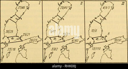 . Biology of the seas of the U.S.S.R. Marine biology -- Soviet Union; Hydrology -- Soviet Union. ««^'QUARKEN 0?4? ?,, SEA . tj ^T BALTIC. •;>-..SE A Fig. 129. Range of near-bottom salinity (%0) in the Gulf of Finland (Sagerstrale). The populated points at Twerminn (T) and Pelling (P) are marked on the chart. 500 250 100 E Wk s. ^^ J - ? I 1- Q- WOO 2000 S%o FLUCTUATIONS WITHIN THE INTERVAL 0-21-3-64 °/oo Fig. 130. Hydrological cross section from the Neva Guba westwards to the south from KotUn Island (Derjugin). Chlorine content in mg/1. is shown by the numerals. Distribution of nutrient sal - Stock Photo