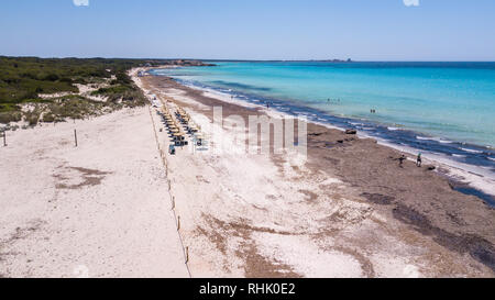 Sa Rapita, Mallorca Spain. Amazing drone aerial landscape of the charming Es Rapita beach and turquoise sea - Stock Photo