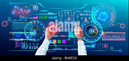 Scientist Work with Futuristic Holographic HUD Interface. User Hands Controls Abstract Tech Elements Virtual Digital Dashboard. Fantastic Science - Stock Photo