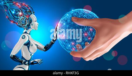 Artificial Intelligence takes control of the infrastructure of entire planet. Man stretches the globe in the palm of his hand to a humanoid robot with - Stock Photo