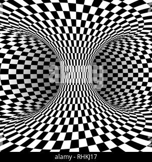 Black and white square optical illusion. Abstract illusion background. Vector illustration