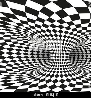 Geometric Square Black and White Optical Illusion. Abstract Wormhole Tunnel Distort. Vector Illustration Stock Photo