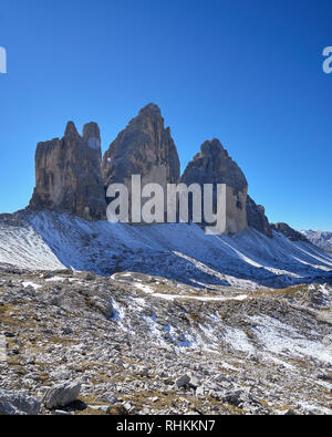 The north face of Tre Cime di Lavaredo, Misurina, Dolomites, Veneto, Italy. - Stock Photo