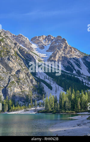 Lago di Braies, Dolomites, South Tyrol, Italy - Stock Photo