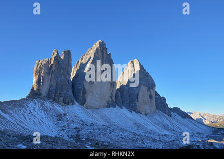 The north face of Tre Cime di Lavaredo, Misurina, Dolomites, Veneto, Italy - Stock Photo