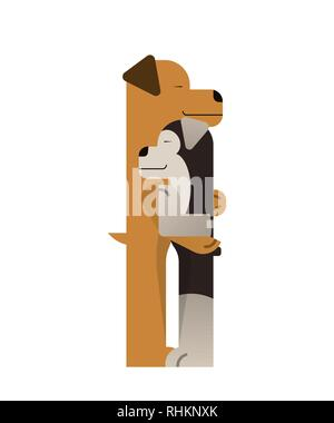 Two cute dogs hugging. Valentines day. Love vector illustration. Flat style - Stock Photo