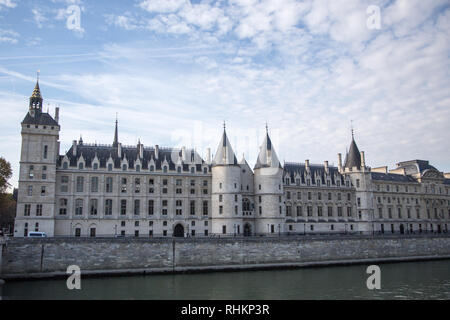 PARIS, FRANCE - OCTOBER 16, 2018: Paris Castle Conciergerie - former royal palace and prison. Conciergerie located on west of Cite Island and today -  - Stock Photo