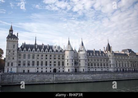 PARIS, FRANCE - OCTOBER 16, 2018: Paris Castle Conciergerie - former royal palace and prison. Conciergerie located on west of Cite Island and today -