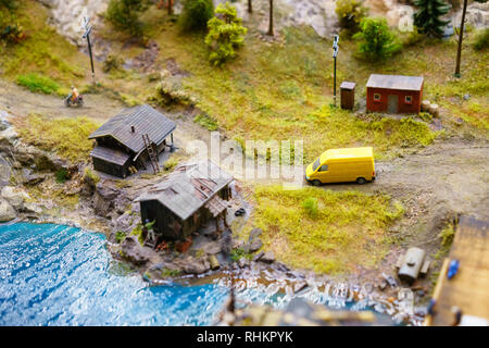 Russia in miniature Grand Layout in St. Petersburg, January 19, 2019, mini copies of people and roads and cars. - Stock Photo