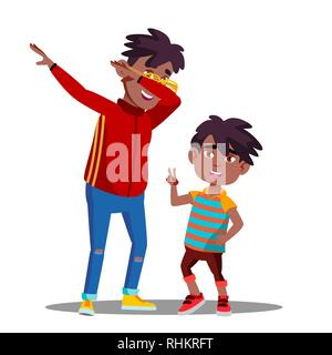 Two Little Afro American Boys With Dreadlocks Dancing To Music Vector. Isolated Illustration - Stock Photo