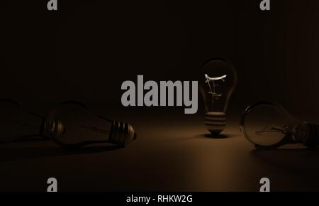 3D light bulb in the dark, a few light bulbs are not working - Stock Photo