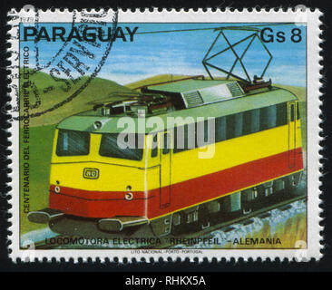 RUSSIA KALININGRAD, 22 APRIL 2017: stamp printed by Paraguay, shows locomotive, circa 1979 - Stock Photo