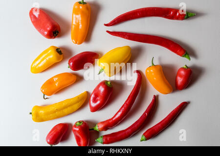 Food concept layout made of tomato and peppers different colors. - Stock Photo