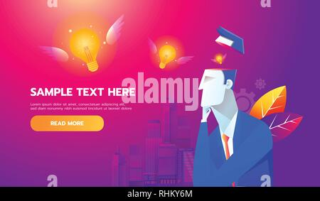 New Idea Concept. Flying bulb from businessman brain, flat design best vector icon - Stock Photo