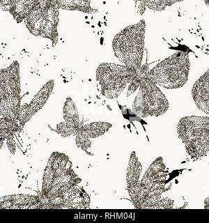 Vector spring natural seamless pattern with butterflies - Stock Photo