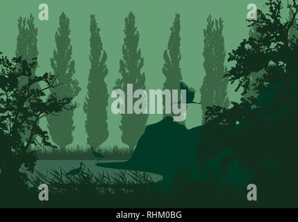 Realistic illustration of a wetland landscape with a lake or river, reeds and poplars on the shore. Three storks under a green sky - vector - Stock Photo