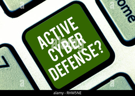 Word writing text Active Cyber Defensequestion. Business concept for acting in anticipation to oppose an attack Keyboard key Intention to create compu - Stock Photo