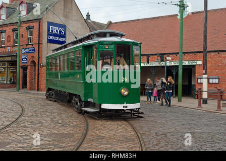 Historic electric tram at Beamish Museum, Co Durham, England, UK - Stock Photo