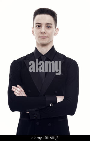 Man in black suit isolated on white, dance. Ballroom dancer in tuxedo with tie, fashion. Dance, performance or entertainment concept. Mens fashion and style. - Stock Photo