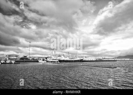 Reykjavik, Iceland - October 13, 2017: ship in sea port. Boat travel. Ship a sea. Ship acoustic navigation system. Boat ahoy. The world is yours, travel more. - Stock Photo