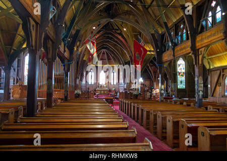 Interior of St Paul's church, Wellington, New Zealand - Stock Photo