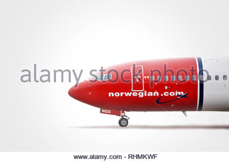 Norwegian Air Shuttle Boeing 737-800 LN-NGS MSN: 39029 cockpit close-up on bright background. - Stock Photo