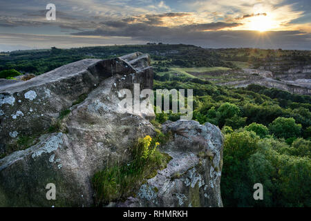 Black Rocks at sunset - Stock Photo
