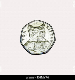 Limited edition British 50p piece coin commemorating Beatrix Potter character Tom Kitten - Stock Photo