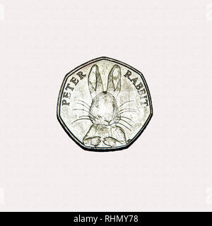 Limited edition British 50p piece coin commemorating Beatrix Potter character Peter Rabbit - Stock Photo