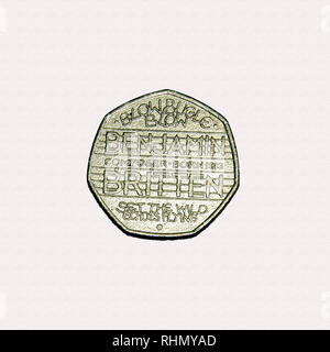 Limited edition British 50p piece coin commemorating Benjamin Britten the composer - Stock Photo