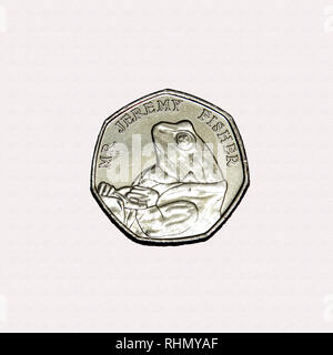 Limited edition British 50p piece coin commemorating Beatrix Potter character Mr Jeremy Fisher - Stock Photo