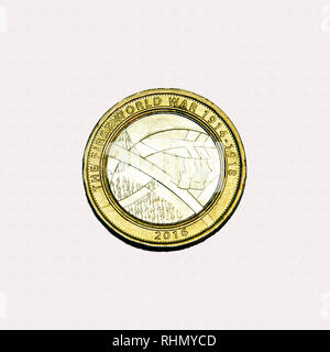 Limited edition British £2 coin commemorating the first world war and the role of the Army - Stock Photo