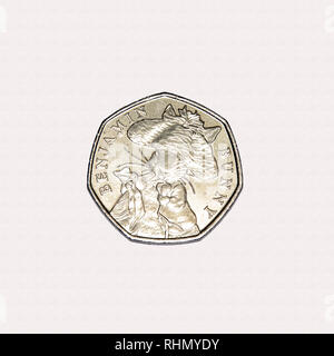 Limited edition British 50p piece coin commemorating Beatrix Potter character Benjamin Bunny - Stock Photo