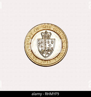 Limited edition British £2 coin commemorating the original historic Guinea made of gold from Guinea - Stock Photo