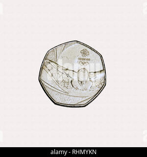 Limited edition British 50p piece coin commemorating the Olympic games in Britain in 2012 featuring a swimmer - Stock Photo