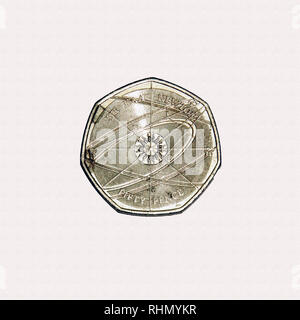 Limited edition British 50p piece coin commemorating Sir Isaac Newton the influential scientist - Stock Photo
