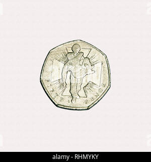 Limited edition British 50p piece coin commemorating the Victoria cross, the highest award for gallantry in Britain and Commonwealth - Stock Photo