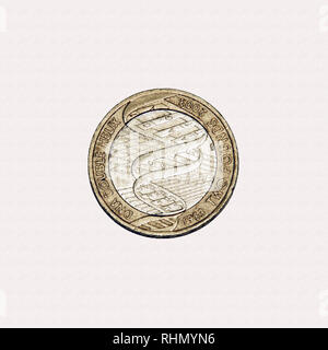 Limited edition British £2 coin commemorating the discovery of DNA in 1953 - Stock Photo